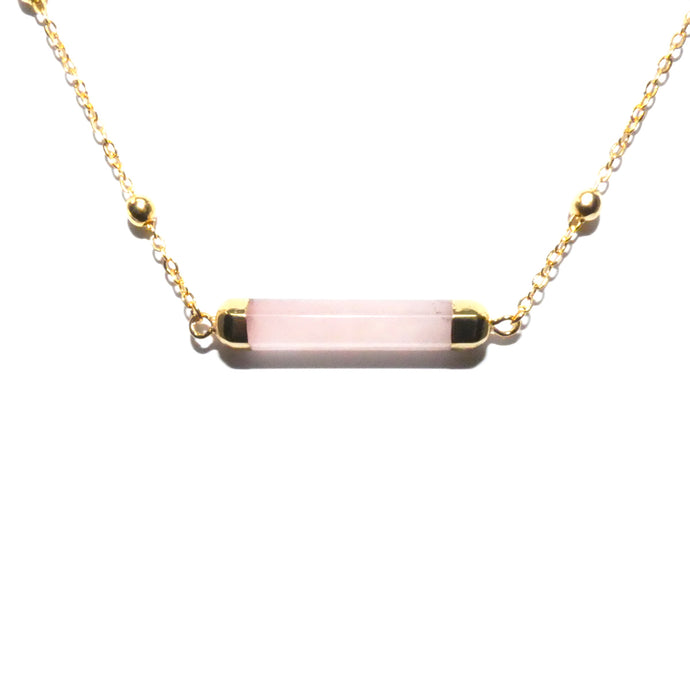 Minimalist Rose Quartz Rounded Bar Pendant Choker 14