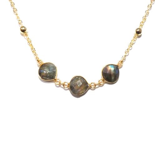 Faceted Gem Triple Drop Labradorite Pendant Choker 14