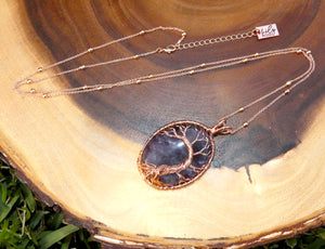 "Tree of Life Oval Amethyst Wire Wrapped Large Pendant 30"" Rose Gold Necklace"