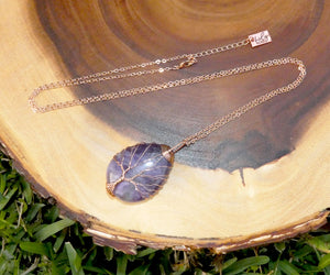 "Tree of Life Teardrop Amethyst Wire Wrapped Pendant 30"" Rose Gold Necklace"