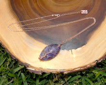 "Load image into Gallery viewer, Tree of Life Amethyst Pointed Oval Wire Wrapped Pendant 30"" Rose Gold Necklace"