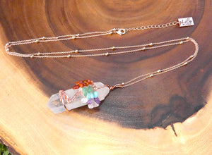 "Tree of Life Wire Wrapped Rainbow Chakra Healing Crystal Clear Quartz Raw Pendant 30"" Rose Gold Necklace"