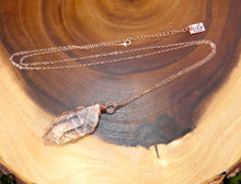 "Load image into Gallery viewer, Basket Weave Wire Wrapped Crystal Clear Quartz Raw Pendant 30"" Rose Gold Necklace"