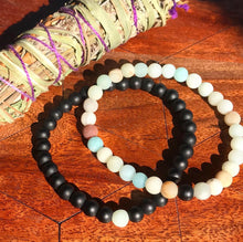 Load image into Gallery viewer, Amazonite & Black Onyx Couples Bracelet 6mm Stretch Matching Set
