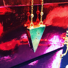 "Load image into Gallery viewer, Dynamic Triangle Chrysoprase Double Sided Pendant 18"" Gold Necklace"