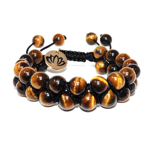 Fierce & Fortunate Tigers Eye Double Adjustable Wrap 8mm Bead Bracelet