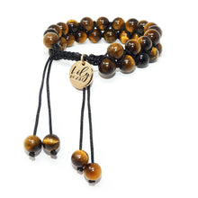 Load image into Gallery viewer, Fierce & Fortunate Tigers Eye Double Adjustable Wrap 8mm Bead Bracelet