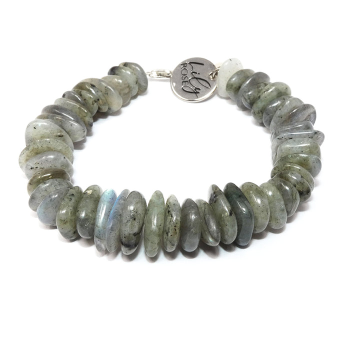 Atlas Labradorite Slice 925 Sterling Silver Adjustable Bracelet