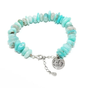 Peruvian Amazonite Slice 925 Sterling Silver Adjustable Bracelet
