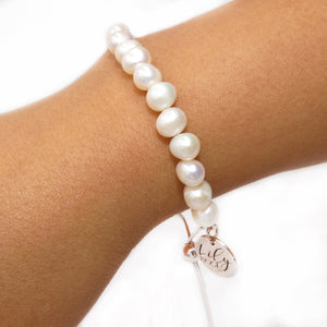 Inner Beauty Freshwater Pearl 925 Sterling Silver Adjustable Bracelet