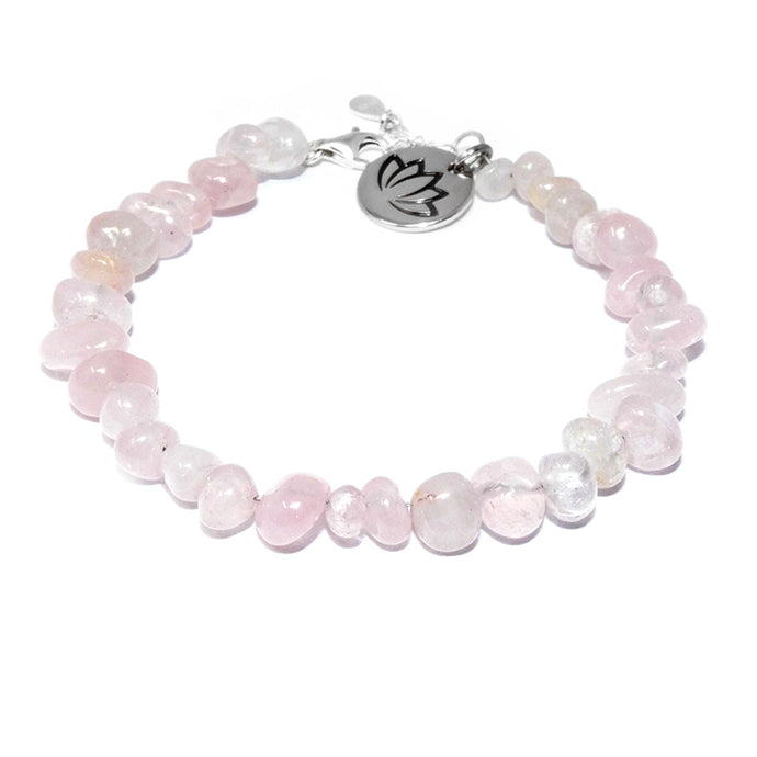 Rose Quartz True Love Slice 925 Sterling Silver Adjustable Bracelet