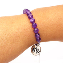 Load image into Gallery viewer, African Amethyst 925 Sterling Silver Sliding Ball Adjustable Bracelet