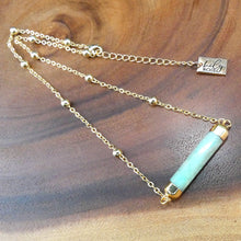 "Load image into Gallery viewer, Minimalist Amazonite Rounded Bar Pendant Choker 14"" + 2"" Gold Necklace"