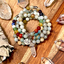 Load image into Gallery viewer, Limited Edition Pride & Chakra Balancing Australian Amazonite Clarity Peace 108 Mala Necklace Bracelet