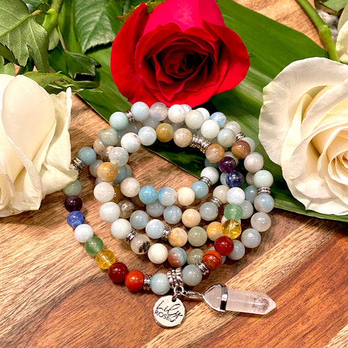 Limited Edition Pride Month & Chakra Balancing Australian Amazonite Clarity Peace 108 Mala Necklace Bracelet