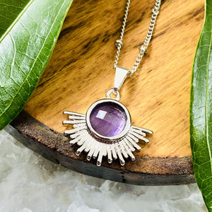 "Amethyst Ray of Light Sunburst Intuition Sun Pendant 18"" White Gold Necklace"