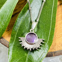 "Load image into Gallery viewer, Amethyst Ray of Light Sunburst Intuition Sun Pendant 18"" White Gold Necklace"