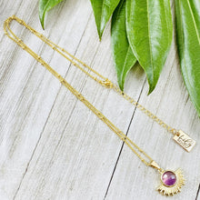 "Load image into Gallery viewer, Amethyst Ray of Light Sunburst Intuition Sun Pendant 18"" Gold Necklace"