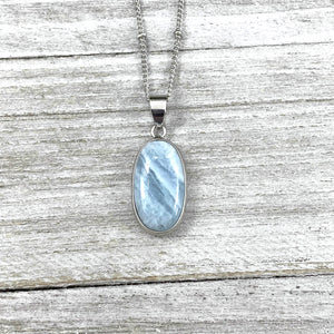 "Aquamarine Calming Long Oval Pendant 18"" White Gold Necklace"