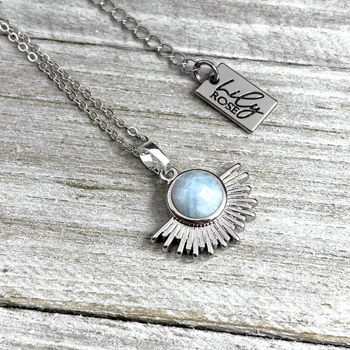 "Aquamarine Ray of Light Sunburst Minimalist Pendant 18"" White Gold Necklace"