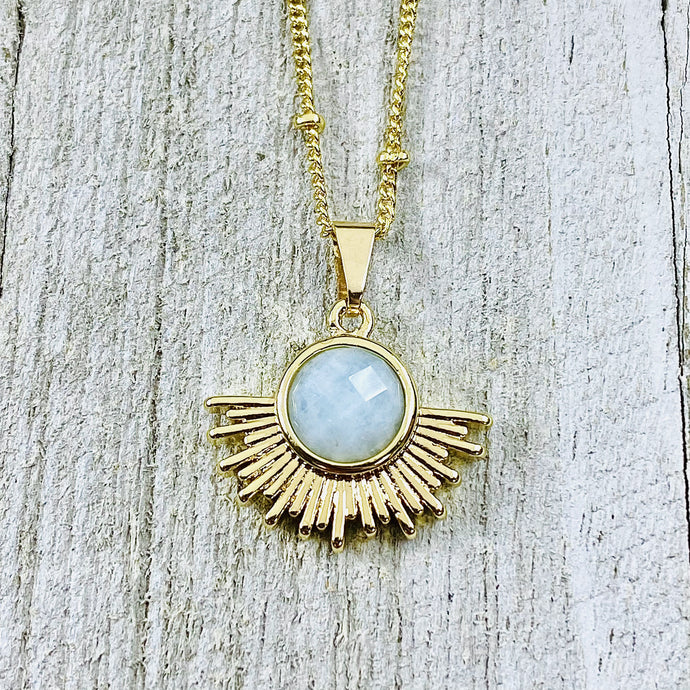 "Aquamarine Ray of Light Sunburst Purity Sun Pendant 18"" Gold Necklace"