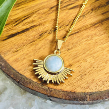 "Load image into Gallery viewer, Aquamarine Ray of Light Sunburst Purity Sun Pendant 18"" Gold Necklace"