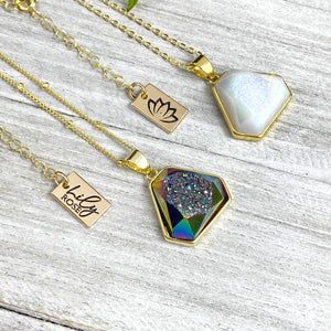 "Rainbow Titanium Aura Quartz White Druzy Inclusion Agate Gemstone Pendant 18"" Gold Necklace"