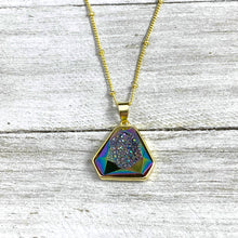 "Load image into Gallery viewer, Rainbow Titanium Aura Quartz White Druzy Inclusion Agate Gemstone Pendant 18"" Gold Necklace"