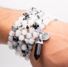 Load image into Gallery viewer, Tourmalinated Quartz Black Tourmaline in Clear Quartz Master Healing 108 Mala Necklace Bracelet