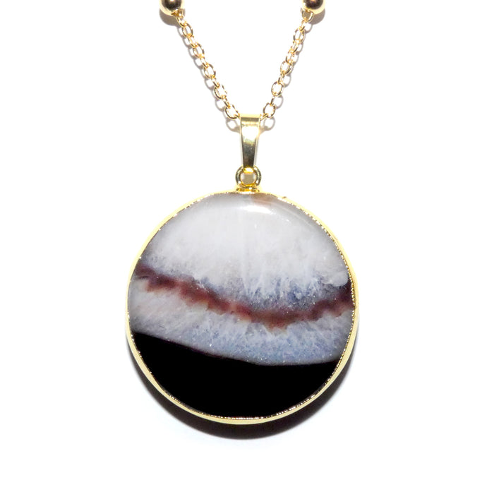 "Black Lace Agate Thick Circle Slice Pendant 30"" Gold Necklace"