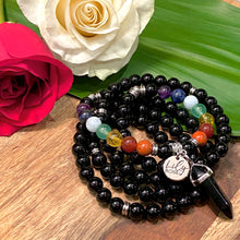 Load image into Gallery viewer, Limited Edition Pride Month & Chakra Balancing Black Onyx Spiritual Warrior Strength Rainbow 108 Mala Necklace Bracelet