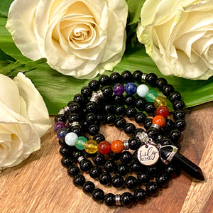 Limited Edition Pride Month & Chakra Balancing Black Onyx Spiritual Warrior Strength Rainbow 108 Mala Necklace Bracelet
