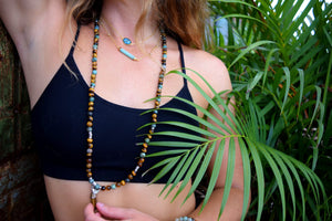 Tigers Eye & African Turquoise Duo Powerhouse Endless Possibilities 108 Mala Necklace Bracelet