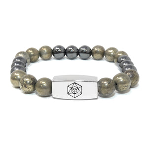 8mm Elizabeth April Channeled Grey Zeta Sacred Geometry Limited Edition Cosmic Species Stretch Bracelet