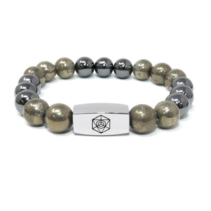 10mm Elizabeth April Channeled Grey Zeta Sacred Geometry Limited Edition Cosmic Species Stretch Bracelet