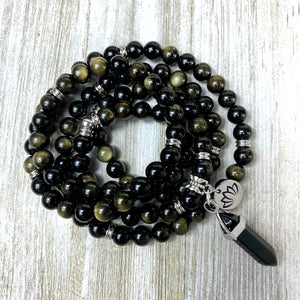 Glimmering Gold Sheen Obsidian Energetic Shield 108 Mala Necklace Bracelet