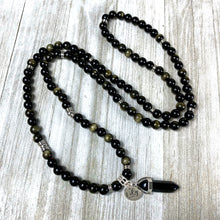 Load image into Gallery viewer, Glimmering Gold Sheen Obsidian Energetic Shield 108 Mala Necklace Bracelet