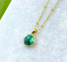 "Load image into Gallery viewer, Malachite Power & Transformation Hexagon Pendant 18"" Gold Necklace"