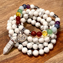 Load image into Gallery viewer, Limited Edition Pride Month & Chakra Balancing Howlite Happiness Anti-Anxiety 108 Mala Necklace Bracelet