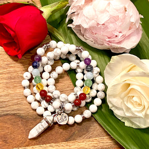 Limited Edition Pride Month & Chakra Balancing Howlite Happiness Anti-Anxiety 108 Mala Necklace Bracelet