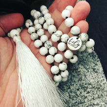 Load image into Gallery viewer, Howlite Happiness 108 Hand Knotted Mala with Tassel Necklace