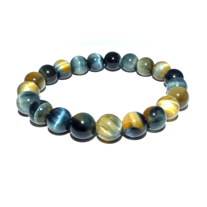 Limited Honey Blue Tigers Eye Velvet Transitioning 10mm Stretch Bracelet