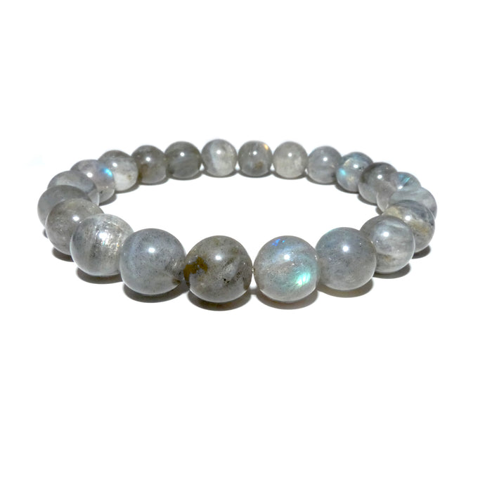 Labradorite Limited New Moon Power Protector Shaman Stone 10mm Stretch Bracelet