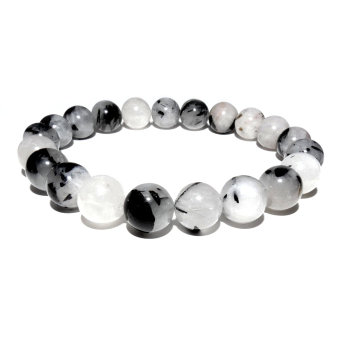 Tourmalinated Quartz Black Tourmaline in Clear Quartz Master Healing 10mm Stretch Bracelet