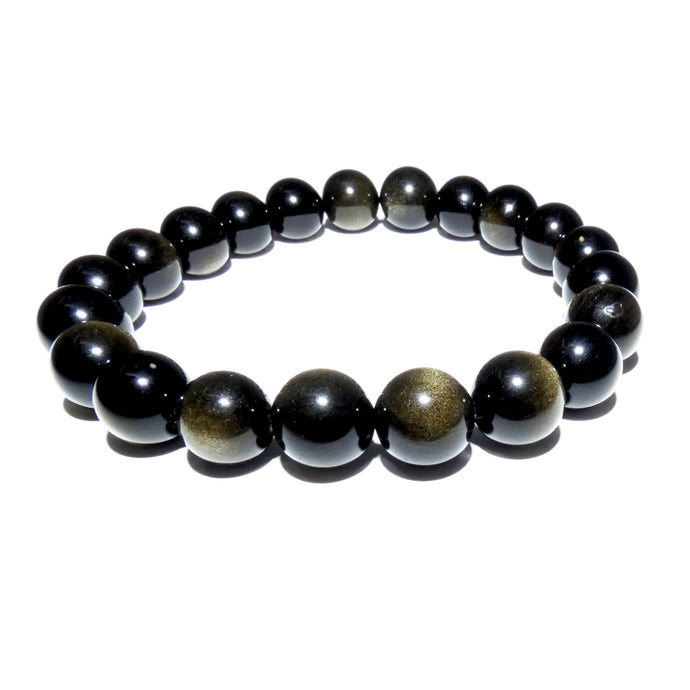Limited Gold Sheen Rainbow Obsidian Energetic Shield 10mm Stretch Bracelet
