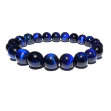Load image into Gallery viewer, Vibrant Blue Tigers Eye Wisdom and Truth 10mm Stretch Bracelet