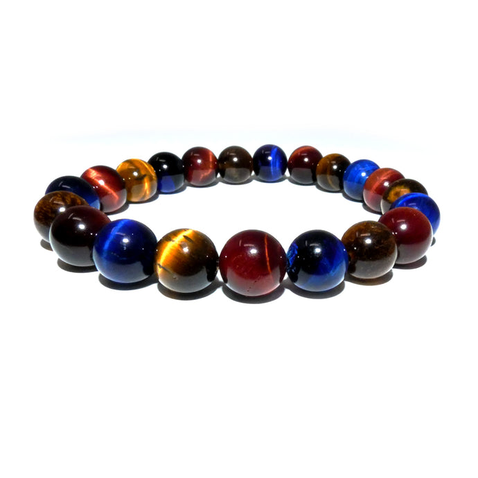 Limited Edition Triple Power Red Tigers Eye Blue Tigers Eye and Yellow Tigers Eye 10mm Stretch Bracelet