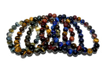 Load image into Gallery viewer, Limited Edition Triple Power Red Tigers Eye Blue Tigers Eye and Yellow Tigers Eye 10mm Stretch Bracelet