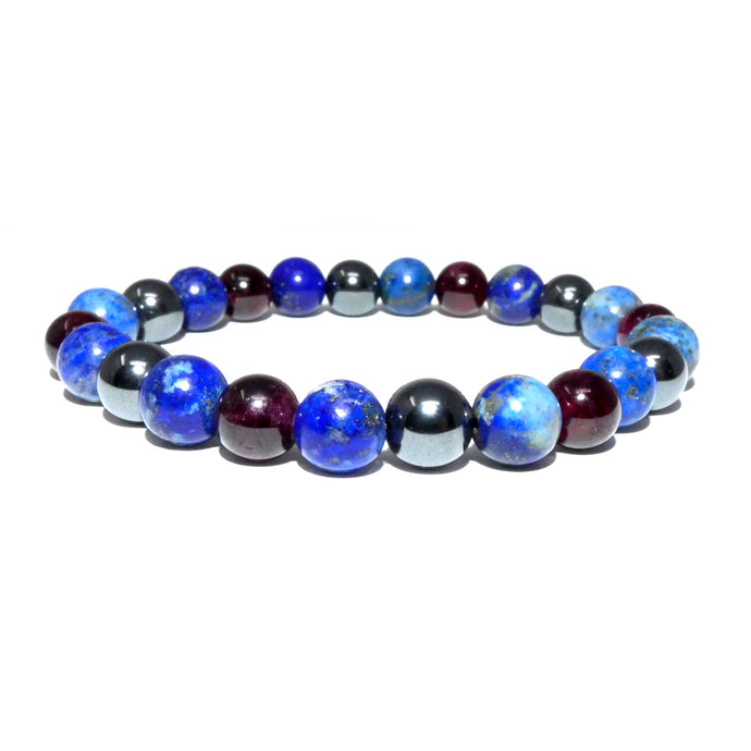 Guardian Collection Lapis Garnet Hematite 8mm Stretch Bracelet