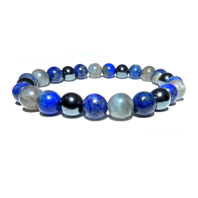 Guardian Collection Lapis Labradorite New Moon Hematite 8mm Stretch Bracelet
